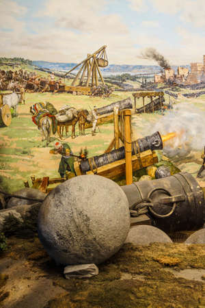 constantinople: Huge siege cannon used in the final assault and  fall of Constantinople in 1453. Diorama in Askeri Museum, Istanbul,  Turkey