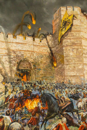 the turks: Details of the final assault and the fall of Constantinople in 1453.  painting in Askeri Museum, Istanbul,  Turkey