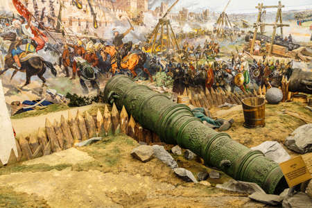 diorama: Huge siege cannon used in the final assault and  fall of Constantinople in 1453. Diorama in Askeri Museum, Istanbul,  Turkey