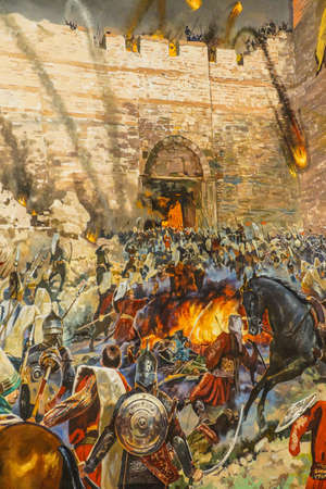 siege: Details of the final assault and the fall of Constantinople in 1453.  painting in Askeri Museum, Istanbul,  Turkey