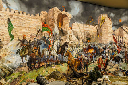 Details of the final assault and the fall of Constantinople in 1453.  painting in Askeri Museum, Istanbul,  Turkey