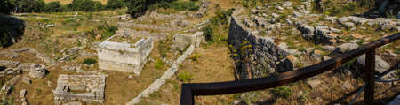possibly: Panorama, remains of ancient Troy, possibly Priams city of the Iliad, . Turkey