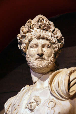 hadrian: Roman emperor Hadrian, 2nd century CE, statue from Perge  in  Turkey
