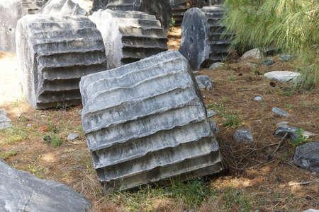 Broken columns await restoration in ancient Priene,  Turkey