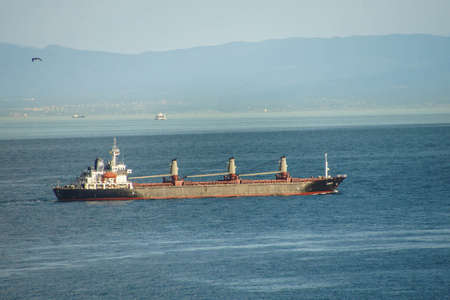 Tanker passes Istanbul after sailing through the Bosphorus in  Turkey