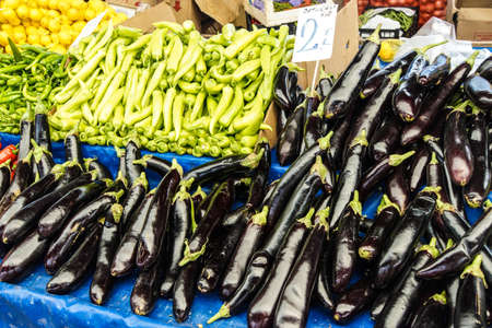weekly: Eggplant for sale at the weekly market  in Canakkale,  Turkey Stock Photo