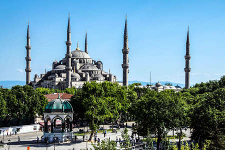 glows: Sultan Ahmet Camii ( Blue Mosque ) in the morning  Sultan Ahmet Camii ( Blue Mosque ) in Istanbul, Turkey