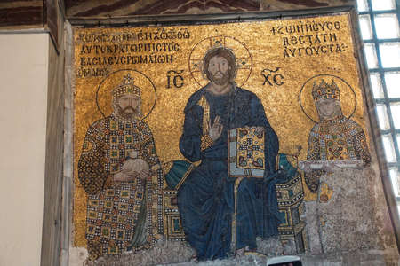 enthroned: Christ enthroned, flanked by Empress Zoe and her 3rd husband Constantine IX Monomachus, Byzantine mosaic in the gallery of  Hagia Sophia  in Istanbul, Turkey