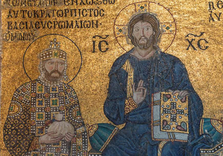 enthroned: Christ enthroned, flanked by  Constantine IX Monomachus, husband of Empress Zoe,  Byzantine mosaic in the gallery of  Hagia Sophia  in Istanbul, Turkey Editorial