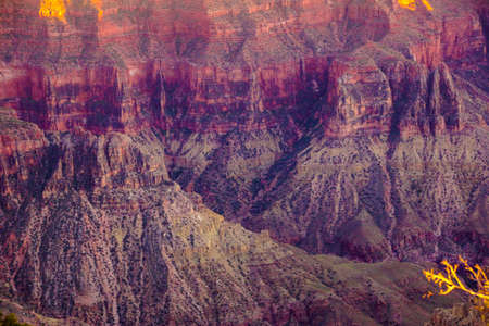 alpenglow: Alpenglow paints the cliffs and ridges after sunset  from Imperial Point in the North Rim of the Grand Canyon National Park, Arizona