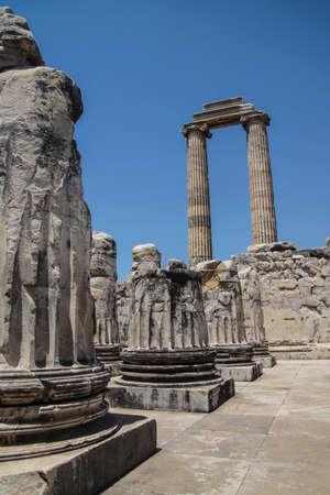 Stumps of massive stone columns of the Apollo temple  at Didyma,  Turkey Stok Fotoğraf