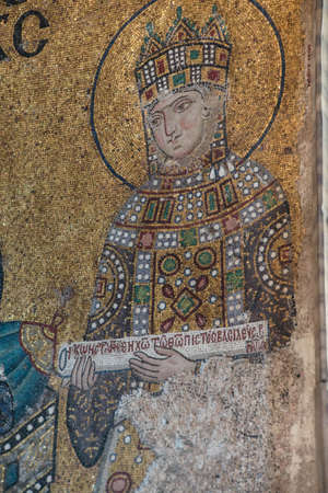 empress: Empress Zoe,  Byzantine mosaic in the gallery of  Hagia Sophia  in Istanbul, Turkey