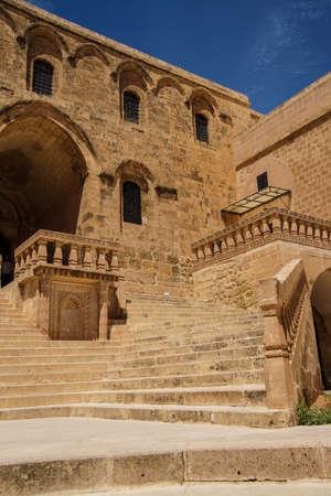 Courtyard of Syriac Christian Church,  Deyrulzafaran Monastery in  Mardin,  Turkey Imagens