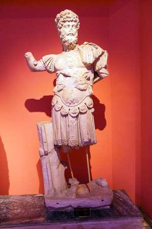 1st century: Roman emperor Trajan with Medusa cuirass, 1st century CE, statue from Perge  in  Turkey
