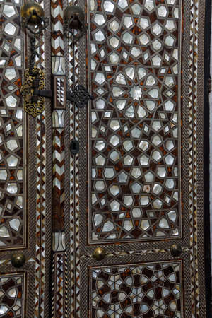 Door with mother of pearl inlays  in the Harem  in Topkapi Palace,  in Istanbul, Turkey