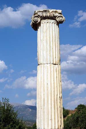 Dorian column in the ancient agora  of Aphrodisias,  Turkey