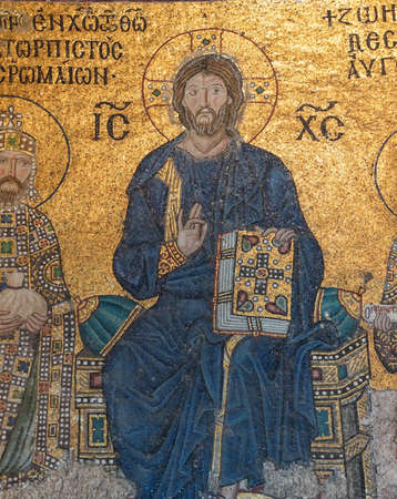 enthroned: Christ enthroned,  Byzantine mosaic in the gallery of  Hagia Sophia  in Istanbul, Turkey Editorial