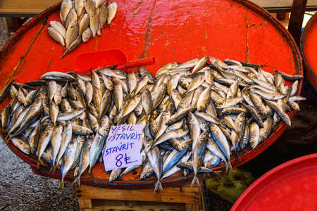 Istavrit (Horse mackerel)  at the weekly market  in Canakkale,  Turkey Stok Fotoğraf