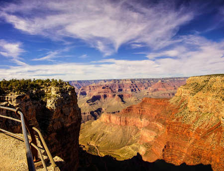 mohave: Canyon view from the Rim Trail  near Mohave Point, on the South Rim Trail,at the Grand Canyon National Park, Arizona Stock Photo