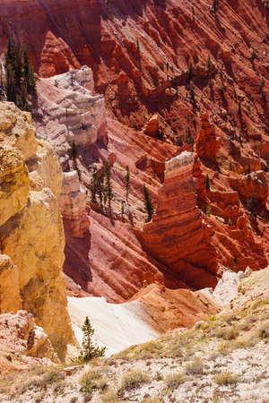 pinnacle: Detail, pinnacles and hoodoos of red Navajo sandstone  in the canyons of Cedar Breaks National Monument, Utah