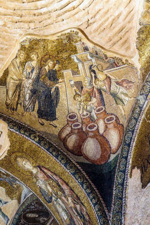 ISTANBUL, TURKEY - MAY 15, 2014 -Miracle of Cana, water into wine,  mosaic,  Outer Narthex, Chora Church (Kariye Museum) in Istanbul, Turkey Editorial