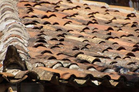 terra: Terra cotta roof tiles on old building  Sirince,  Turkey Stock Photo