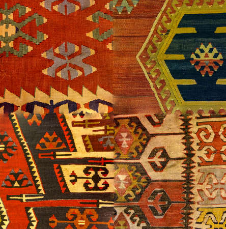 Traditional Anatolian pattern on old Turkish kilim  from Cappadocia, Turkey Banco de Imagens