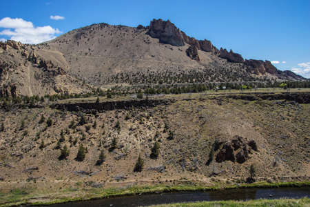 smith rock: Valley floor of the Crooked River  near Smith Rock State Park, Central Oregon.