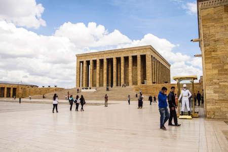 ataturk: ANKARA, TURKEY - MAY 21, 2014 -  Visitors approach the Cenotaph that  honors Kemal Ataturk  in his  Mausoleum,  Ankara, Turkey Editorial