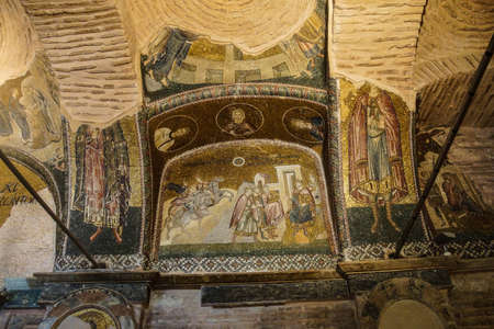 chora: ESTAMBUL, Turqu�a - 15 de mayo 2014 -Journey de los Reyes Magos, y llegada ante Herodes, mosaico, Outer Narthex, Iglesia de Chora (Kariye Museum) en Estambul, Turqu�a