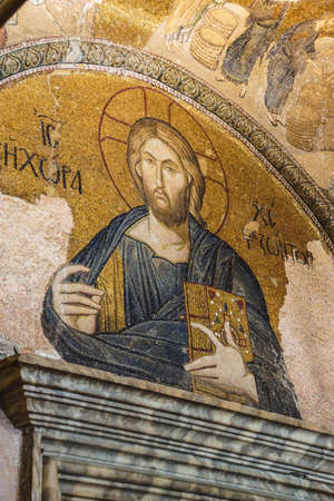 enthroned: ISTANBUL, TURKEY - MAY 15, 2014 -Jesus Christ Pantocrater, enthroned,  mosaic,  Outer Narthex, Chora Church (Kariye Museum) in Istanbul, Turkey Editorial