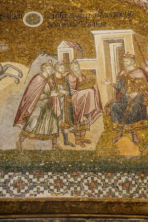 wisemen: ISTANBUL, TURKEY - MAY 15, 2014 -Journey of the Magi, and arrival before Herod,  mosaic,  Outer Narthex, Chora Church (Kariye Museum) in Istanbul, Turkey Editorial