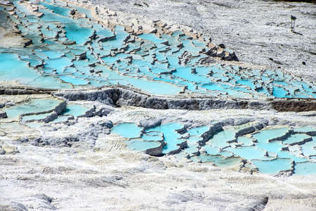 Calcium deposits  on travertine turquoise  terraces at  Pamukkale,  Turkey Stock fotó