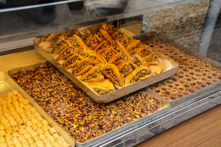 Baklava displayed in a sweets shop  in Istanbul, Turkey