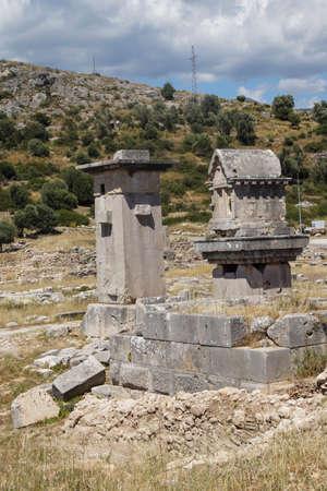 Pillar tomb of the ancient city of  Xanthus ( Xantos) , Turkey