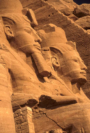 Rameses II colossus, seated figures, Egyptian pharaoh, Abu Simbel Egypt