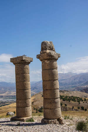 Funerary columns at Karakus for family of Mithridates  in southeastern  Turkey Фото со стока