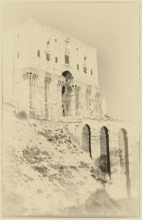 Ingangstoren en gracht van Citadel, Aleppo, Syrië, Midden-Oosten