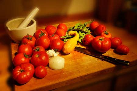 bounty: Generosidad Cosecha - tomates, calabazas y jud�as verdes Foto de archivo