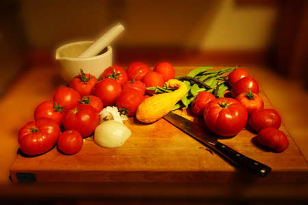 bounty: Harvest bounty - tomatoes, squash and green beans