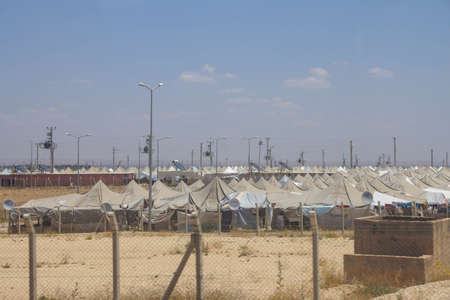 war refugee: Akcakale Syrian  refugee camp near the Syrian border,  in Southeastern Turkey, June 2014 Editorial