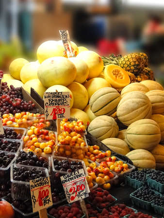 pike place: Fresh fruit on display  in the Pike Place Public market, Seattle Stock Photo