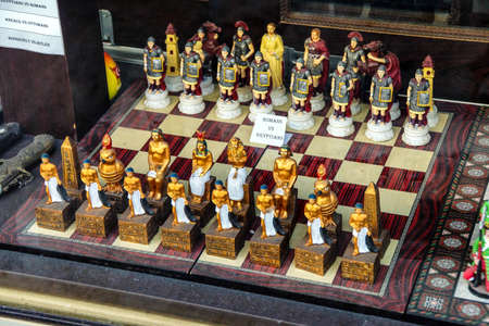 Romans and Egyptians chess set in the tourist bazaar behind the  Blue Mosque,  in Istanbul, Turkey
