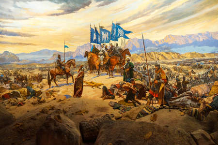 Battle of Manzikert, 1071 CE Askeri Military Museum in Istanbul, Turkey 에디토리얼
