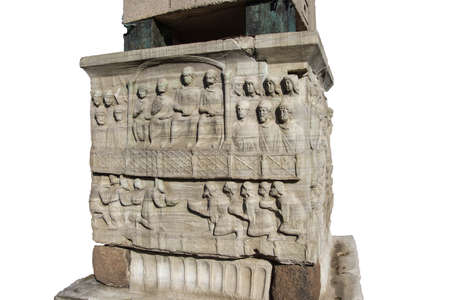 constantinople: Theodosius and family watch chariot races in the Hippodrome of Constantinople. Sculpture at base of Egyptian obelisk  in Istanbul, Turkey Editorial