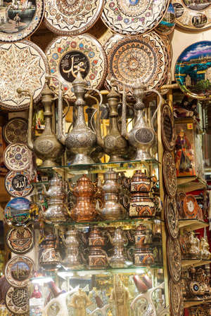 Brass tea sets and serving platters in the Grand Bazaar (Kapali carsi ) in Istanbul, Turkey photo