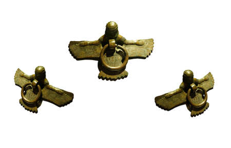 midas: Mythical winged figures on bronze cauldron, Gordion civilization from Kazan, 8th c BCE,  isolated on white, Turkey