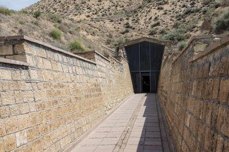 midas: Tumulus and entrance to tomb of King Midas of Phrygia,Gordium, Turkey