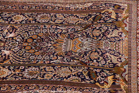 oriental rug: Finely woven silk carpet  in a carpet showroom in  Cappadocia, Turkey