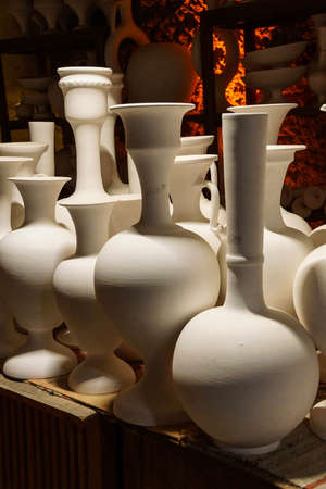 Greenware vases and pots await the kiln,  pottery factory in Avanos, Turkey Stock Photo